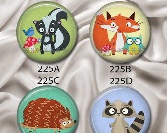 "Woodland Critters (Skunk, Fox, Porcupine, Raccoon) - Magnetic Design Inserts - FIT Clique and Magnabilities 1"" Jewelry...225"