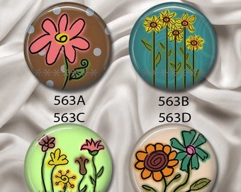 """Doodle Flowers - Interchangeable Magnetic Design Inserts - FIT Clique and Magnabilities 1"""" Jewelry Bases...563"""