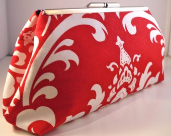 Red and White Large Damask Clutch