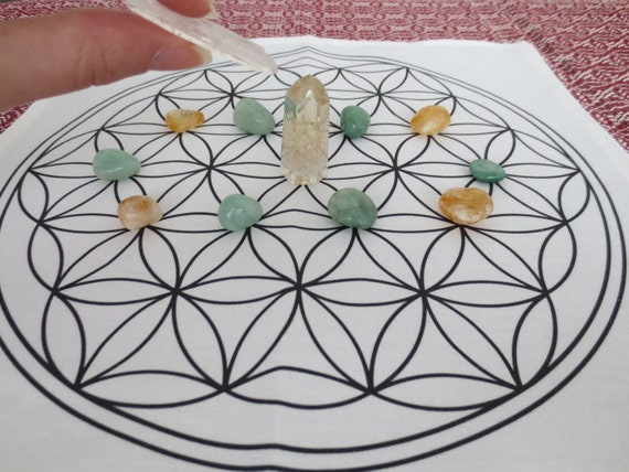 photo about Printable Crystal Grid titled Interaction secrets listing, wealth and abundance