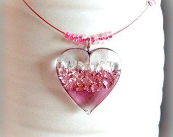 Valentines Women Necklace - Handmade Lampwork Pendant - Pink Heart - Glass Necklace - Romantic Love Necklace