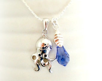 Sea Blue Octopus Necklace  - Swarovski Crystal Necklace - Violet Blue Crystal Pendant - Octopus Charm in Silver
