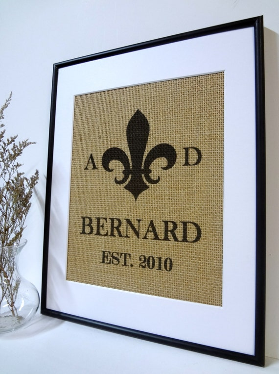 Wedding Anniversary Engagement Fleur De Lis Print on Burlap