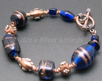 OOAK Bracelet, Handmade Cobalt Blue, Copper, and Sterling Silver Chunky Bracelet