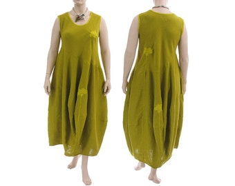 Boho linen maxi summer dress, linen balloon dress in green-mustard, pinafore dress / lagenlook for plus size women L-XXL, US size 16/18-22