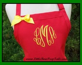 Red Gourmet Monogrammed Apron - Personalized Chefs Gift Idea Patriotic Nautical Holiday Ribbon Bakers Beach Wedding Bridal bridemaids