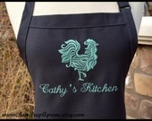 Personalized Rooster Apron - Custom Rooster and Name Apron with Ribbon Bow, Personalized farmhouse kitchen apron, country style aprons