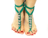 Crochet barefoot sandal, anklets, Green, Foot jewelry, Yoga, Eclectic, Stylish Anklet, Barefoot Sandals, Gypsy accessory, Beach Sandals