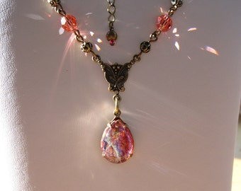 Vintage Ruby Glass Pear Fire Opal and Padparadscha Swarovski Crystal Necklace in Antiqued Brass