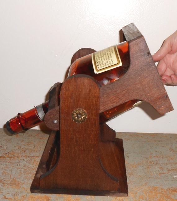 Wood Whisky Bottle Holder Ideas: Vintage Decanter Wood Bottle Holder Tip Server Whisky