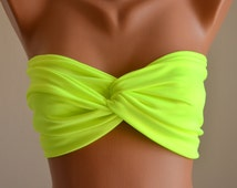 PADDED...Thiner back Neon green bandeau with  removable neck strap-Swimwear-Swimsuit-Bathing suit-Bikini top-Choose your Color !!XS-S-M-L-XL