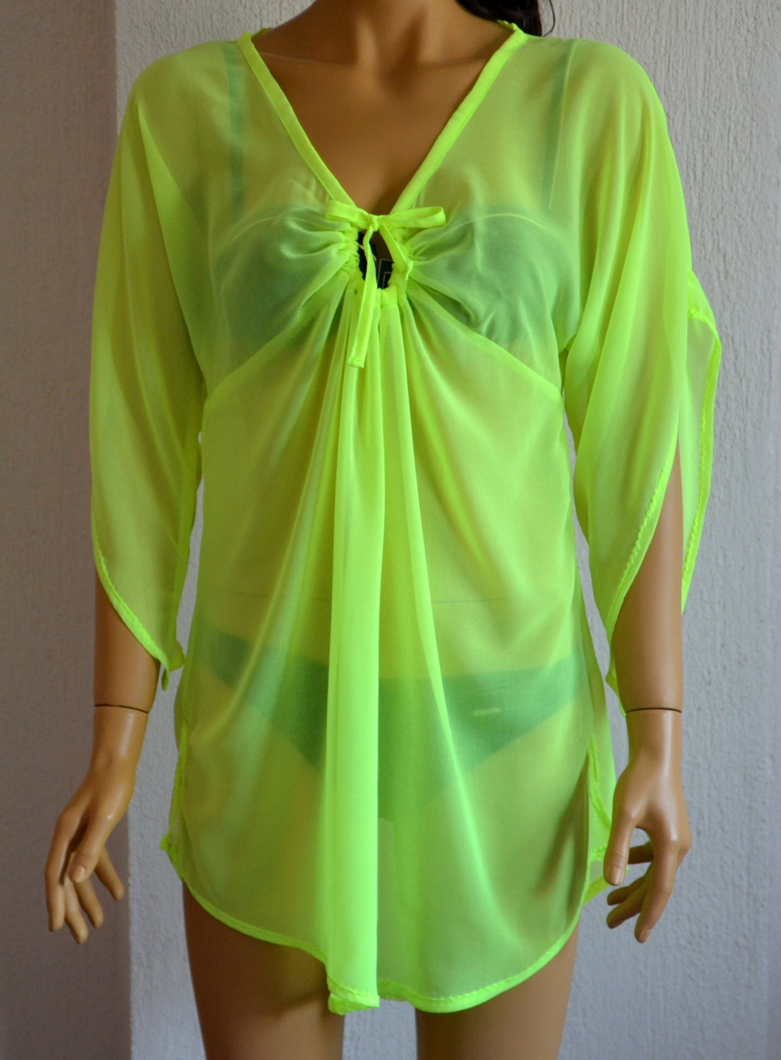 Neon Green Chiffon Caftan Beach Cover Up Summer Dress Boho
