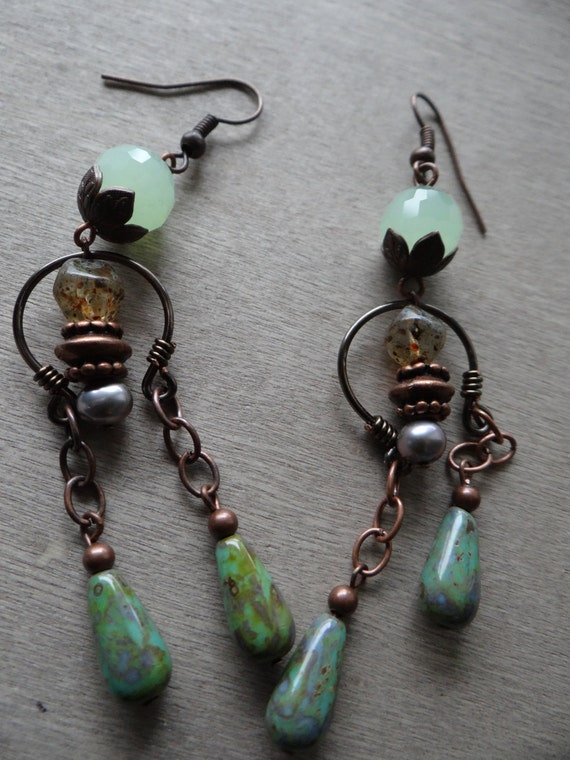 Come to my Garden-jade and iris freshwater pearl earrings
