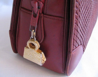 Vintage JUDITH LIEBER Dark Red Woven Leather Purse with Signature Gold Charms