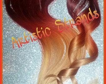 Red Sunrise / Fire Hair / 14 inch human hair extension/ clip-in hair/ dip dye ombre / full set / hair extensions