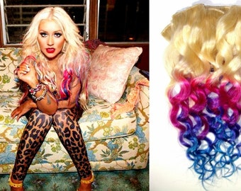 B O L D and Pastel Tye Dye Ombre 18 inch human hair extension/ clip-in hair/ dip dye/ FULL Set /
