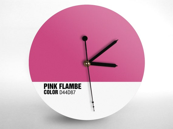 Hey Fishy - Pink Flambe wall clock (Designer Clock)
