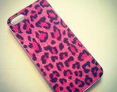 iPhone 5 Hot Pink and Black Faux Fur Leopard Cheetah case