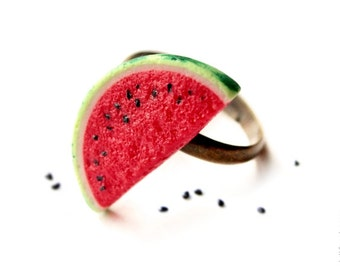 FREE SHIPPING - Watermelon Ring - Food Jewelry
