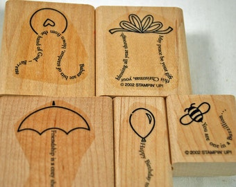 "Stampin' Up RUBBER STAMPS  - - ""The Fine Print"" Never Used Stamping Set for Scrapbooking Cardmaking Collage Crafts"
