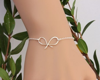 SALE.3 Set of Sterling Silver Bow Bracelet.Bow bracelets on Thank you cards, Tie the Knot cards and bracelets for bridesmaids