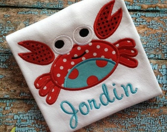 Crab  Girl with Sequins Applique T-Shirt with Name