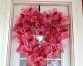 Valentine Heart Shaped Spiral Mesh Wreath