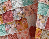 Baby Rag Quilt, Summerlove fabric Pat Bravo, pink teal gold purple, photo prop