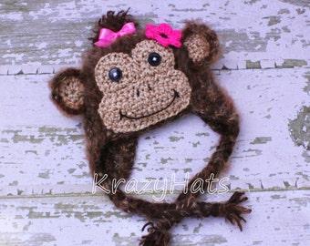 Crochet Fuzzy Monkey hat