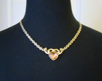 Vintage 1928 Pink Faceted Crystal Heart Necklace, Antique Goldtone setting, 19 inches long, Perfect as a gift