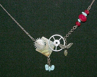 Gears & Turquoise Necklace