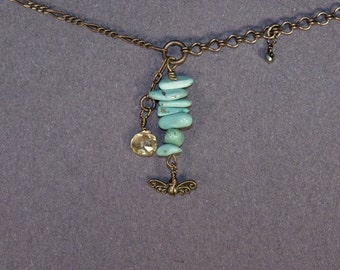 Turquoise, Citrine, Wings Necklace