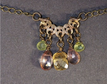 Art Deco Citrine, Pink Quartz, Peridot Necklace
