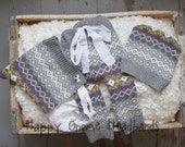 Newborn upcycled pants, hat and bonnet photo prop set. Girl purple grey lavender ski ready to ship.