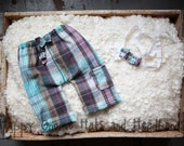 upcycled Newborn Plaid Bermuda shorts and headband tieback.  Photo prop boy or girl ready to ship RTS.