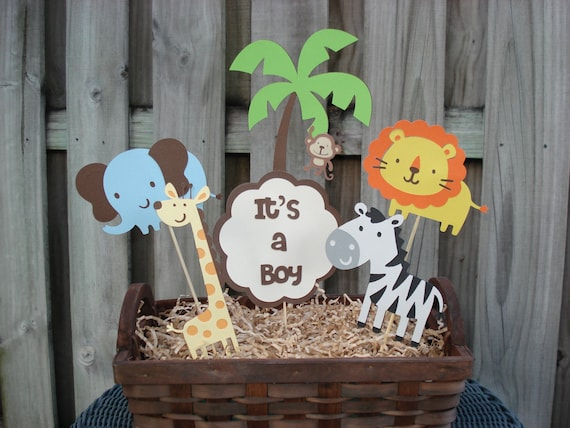 Items similar to jungle birthday centerpiece safari for Baby shower safari decoration