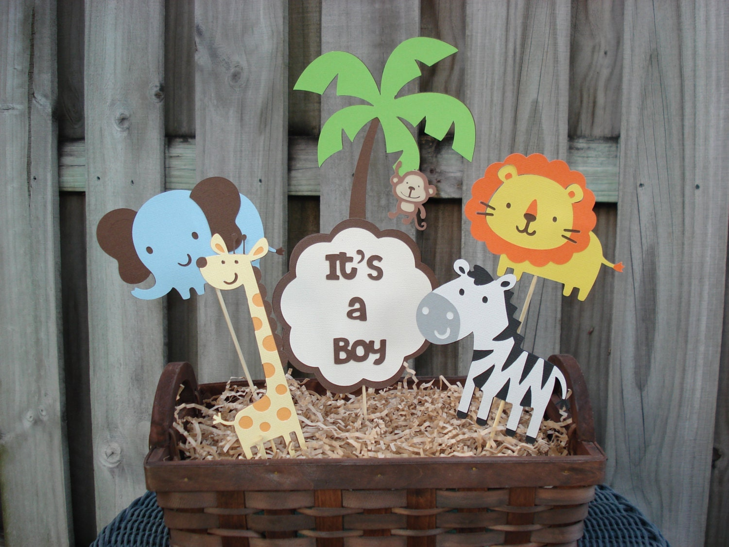 Items similar to jungle birthday centerpiece safari for Animal decoration