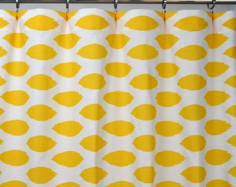 Yellow White Modern Ikat Chipper Curtains - Rod Pocket - 84 96 108 or 120 Long by 25 or 50 Wide - Optional Blackout or Cotton Lining