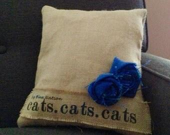 Handcrafted Burlap Kentucky Wildcats Pillow