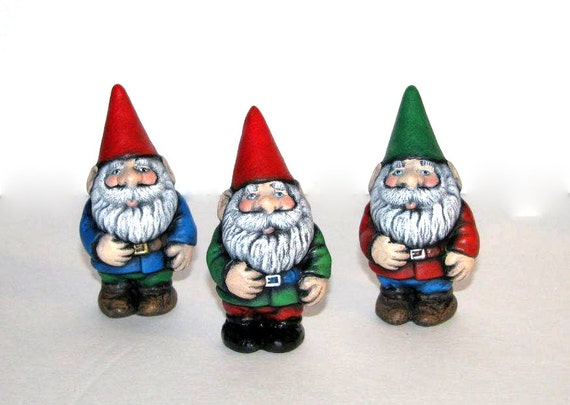 Ceramic Garden Gnomes - SET OF THREE - 4 inches high -  hand painted, lawn and garden, indoor or outdoor