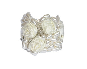 "Vintage Inspired Bridal Pearl Ivory Bracelet Cuff - ""The Ivory Rose"""