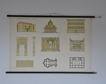 SALE Original Vintage Mid Century Architecture Print. Renaissance architecture. Pull Down Wall Map. Austria. Pull down chart map School