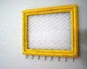 Jewelry Hanger / Organizer / W/Hooks / Chevron / Mustard / Yellow / Gold / Lace / Antique Style / Distressed