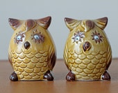 SALE 1960s Owl Salt and Pepper Shakers // Novelty Shakers