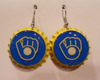 Milwaukee Brewers bottle cap earrings