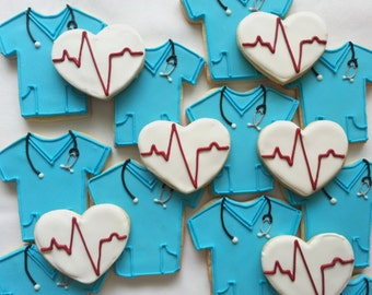One dozen Medical Scrubs and EKG Heart Home Decorated Cookies.