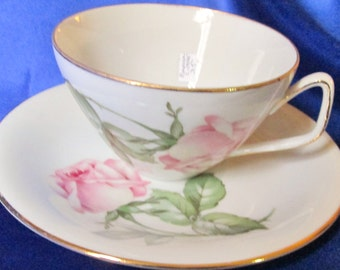 1940s German Porcelain Tea Cup, Rose Transfer,Gold Trim. Wedding Gift,Housewarming Gift,Mothers Day Gift,Thank You Gift