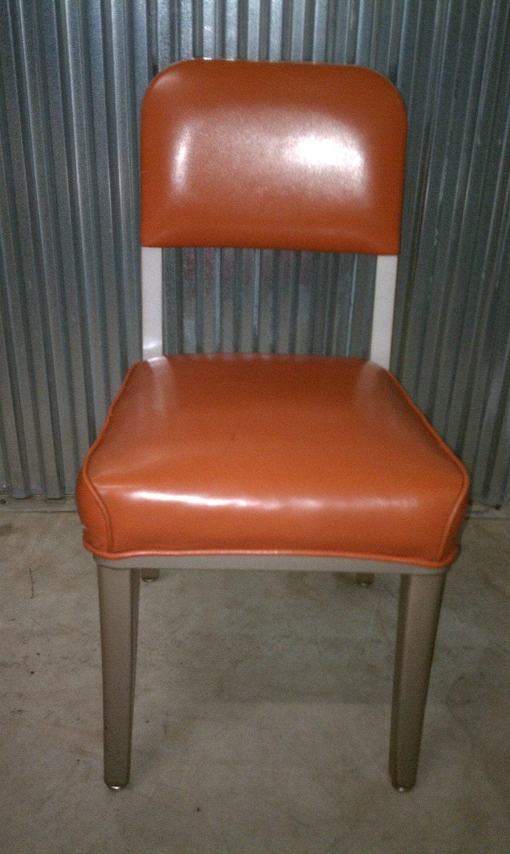 Vintage Steelcase Side Chair With Orange Vinyl