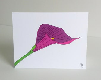 Flower Card Purple Calla Lily Floral Note Card with Lined envelope Flower Greeting Card Botanical Print