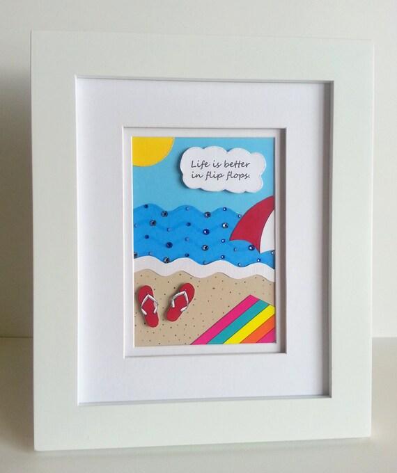items similar to framed paper art flip flops beach scene wall or table framed art sparkly. Black Bedroom Furniture Sets. Home Design Ideas